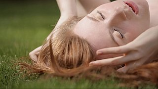 Hotvideosx Very cute redhead teen spreading in nature