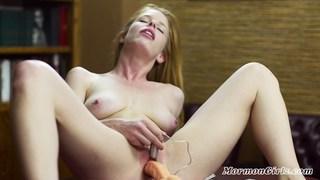 Hot natural Mormon girl masturbates with a toy