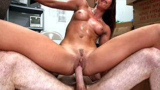 Rilynn Rae riding big rod in the backroom