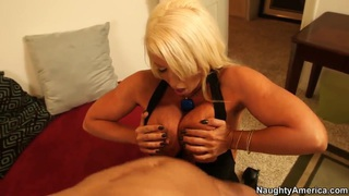 Hot blonde Alura jerks off a dude