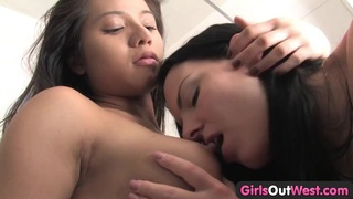 Girls Out West - Busty brunettes shower sex