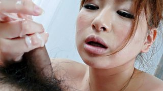 Japanese Honey Yukina Momose Licking and Eating Hairy Balls