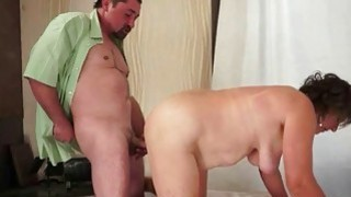 Horny guy fucks chubby hairy granny
