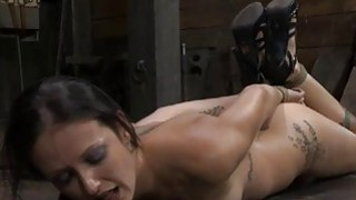 Fastened up girl receives pleasuring for her pussy