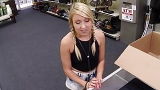 Blonde pussy fucked for money in the back office