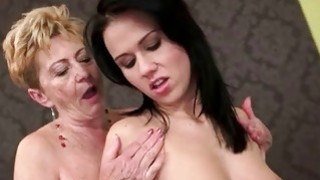 Hot granny love sexy young brunette