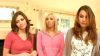 Lad gets his pecker devoured by several babes