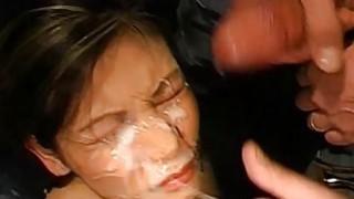 Asian girl covered in sperm