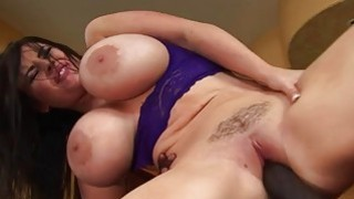 Busty brunette black raven rides the black bulls