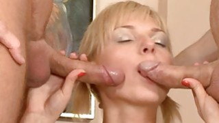 Lusty fellow is pounding two snatches zealously