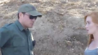 Officer fucks hot young ginger for crossing the border