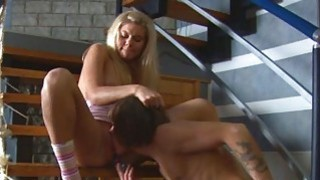 Honey gets to lick and ride on dudes giant weenie