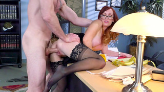 Redheaded secretary Dani Jensen gets banged by her boss