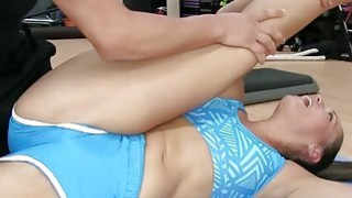 One of the gals fucks the trainer on top while eating bunch of pussies