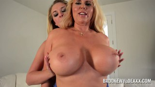 Blonde busty lesbians comparing their booby size