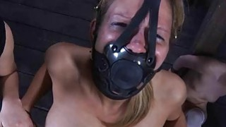 Tied up slave receives pleasuring her naughty slit