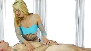 Sexy masseuse blowjobs her clients cock under the table