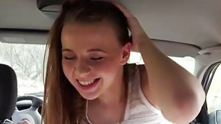 Pretty Olivia Grace banged in the car