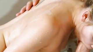 Sexy blonde masseuse fucked by client after giving massage