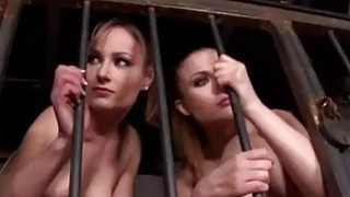 Two hot blonde babes bondaged and forced to fuck