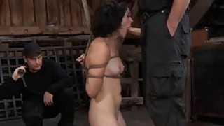 Tied up slave acquires pleasuring her naughty cunt