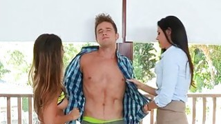 Lucky man receives his knob delighted by mum chick