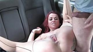 Redhead whore slammed in the backseat