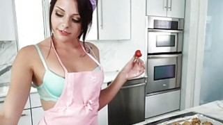 Cutie on hard cock in the kitchen
