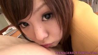 Cute Japanese schoolgirl blows cock after class