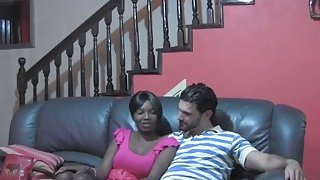 Busty African babe Sakira moans while getting pussy stretched by white man's dick
