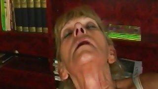 A nasty blonde granny masturbates then gets young hard penis in her vagina