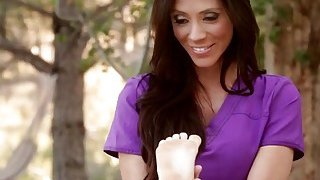 Hot brunette babes sucking each other off outdoors