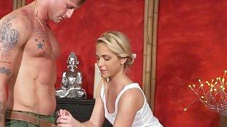 Tattooed guy doggy bangs blonde masseuse