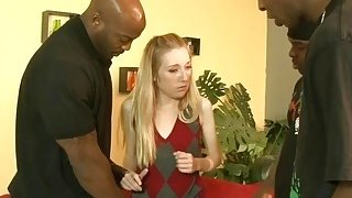 Nasty blonde babe double stuffed by nasty black dudes