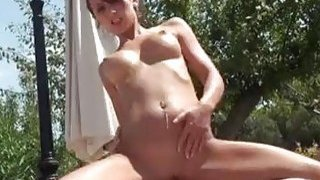 Big ass German bitch enjoys riding cock by the pool