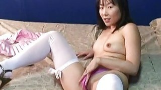 Adorable Asian mom got dressed up for the webcam m