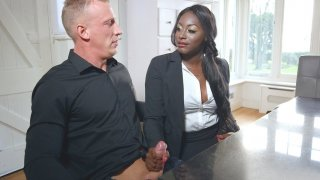 Realtor Jai James gives blowjob to potential buyer Luke Hardy
