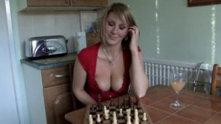 Cute girl shows her tits while playing chess in POV