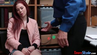 Pale redhead teen thief fucked her way out of trouble