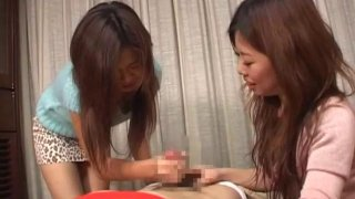 JAV CFNM bound for femdom handjob with cumshot