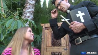 Dirty Nikki Delano seduces and fucks a religious guy