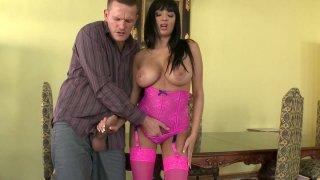 Busty hooker in pink lingerie set Anissa Kate sucking massive dick