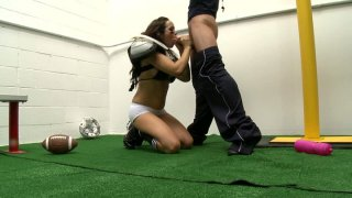 Slutty football player Nikki Cruz fucks her coach