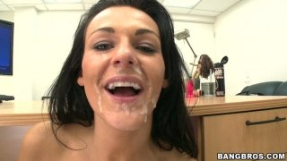 Dirty Nikki gets her face messed up with a fat load