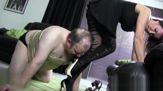 Satin panties nylon cock foot worship and wank with hot Milf
