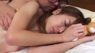 Pale skin Japanese cutie Ami Hyuuga gets her stinky feet licked