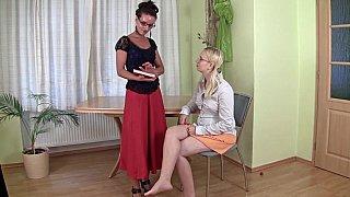 Lesbian teacher with hairy pussy