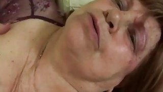 Naughty fat granny masturbates then gets banged by a younger dude