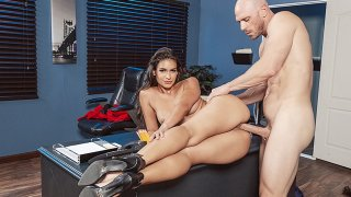 Enticing slut Katana Kombat rides big dick in the office