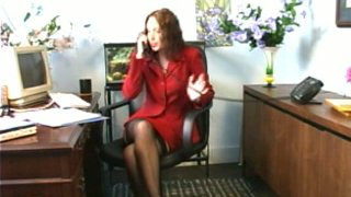Sexy office manager finger fucks herself at office